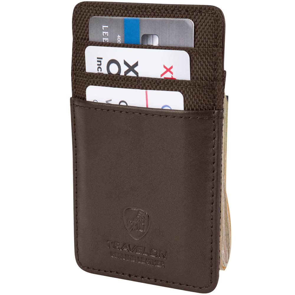 TRAVELON RFID網拼防護證件鈔票夾(咖)