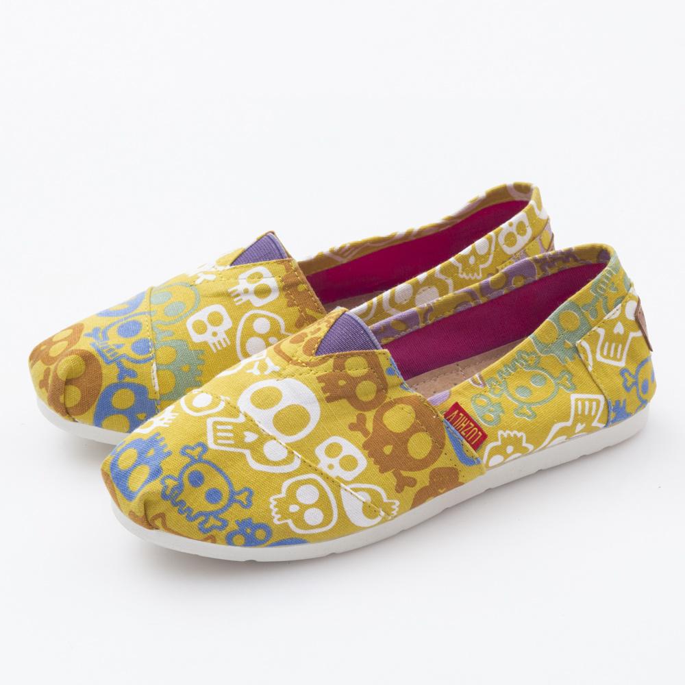 JMS-潮流款俏皮卡通骷髏頭帆布懶人鞋-黃色