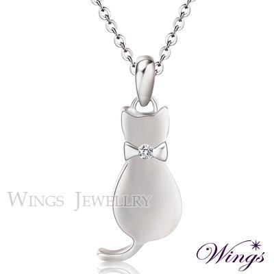 Wings 貓咪物語 甜美閃耀方晶鋯石白鋼項鍊