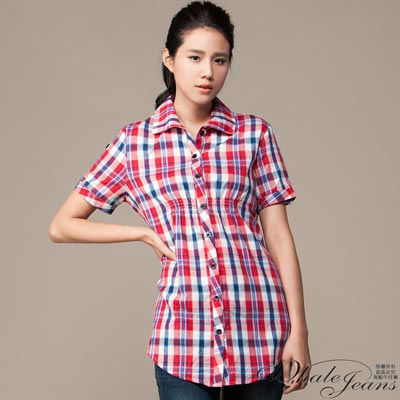 WHALE JEANS 女伶風情前衣抓皺微長版格紋襯衫(2色)