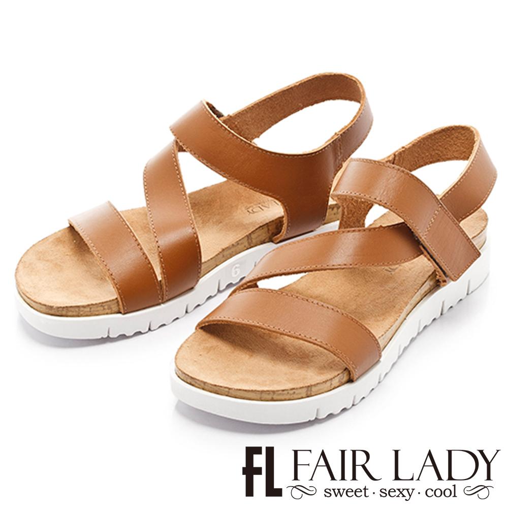 Fair Lady輕軟真皮鬆糕厚底涼鞋棕