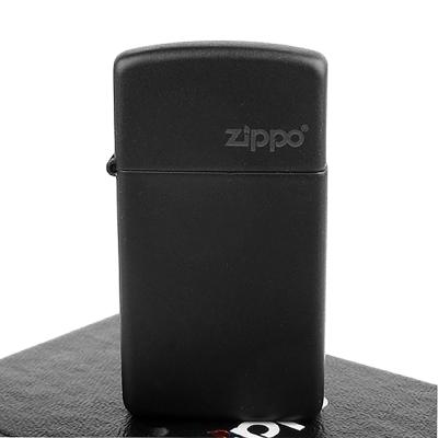 ~ZIPPO~美系~LOGO字樣打火機~Black Matte黑色烤漆~窄版