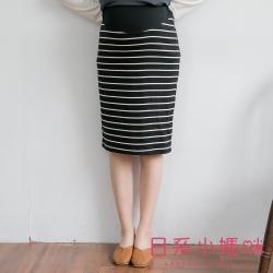 日系小媽咪孕婦裝-韓製孕婦裙~俐落感條紋坑條及膝窄裙 M-XL