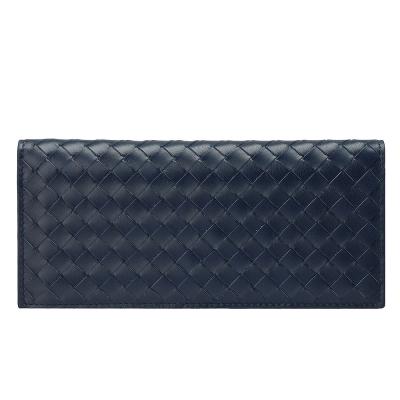 BOTTEGA VENETA 經典編織小羊皮折疊手拿長夾(深藍黑色)