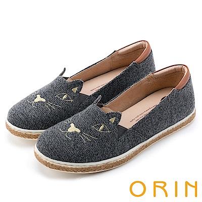 ORIN 俏麗女孩 趣味貓咪甜美平底便鞋-灰色