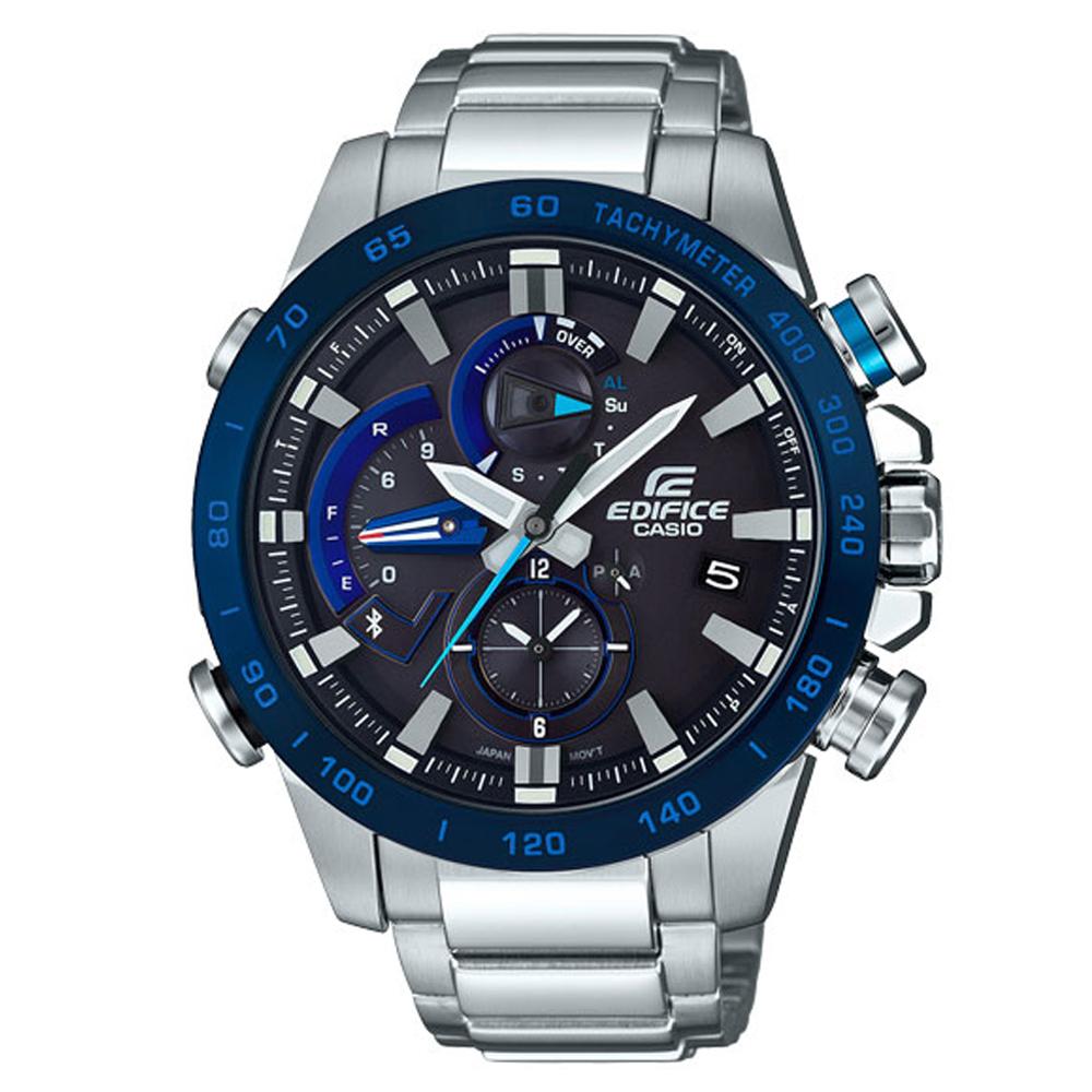 EDIFICE 動感技術藍牙傳輸賽車運動錶(EQB-800DB-1A)-黑x藍圈/49.2mm