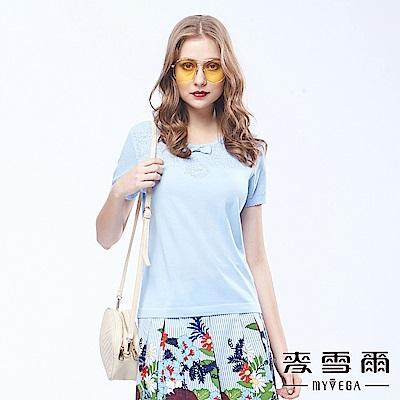 麥雪爾 鏤空花型蝴蝶結棉質針織衫-水藍