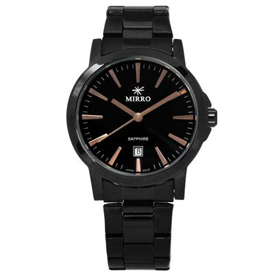 MIRRO 米羅 浪漫時刻藍寶石水晶玻璃日期不鏽鋼手錶- 鍍黑 /32mm