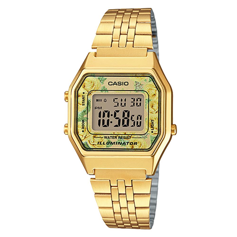 CASIO玫瑰花春樣氣息復古金系列百搭時尚數位錶(LA-680WGA-9C)黃玫瑰28.6mm