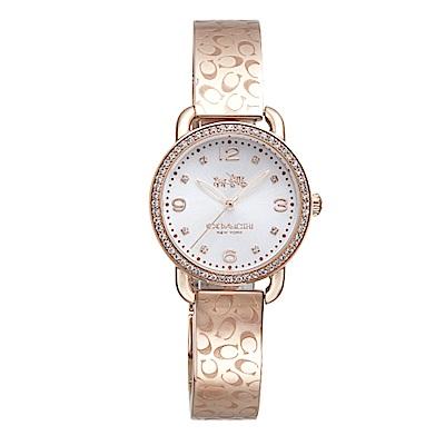 COACH 漫步巴黎時尚手鐲腕錶/玫瑰金/14502355