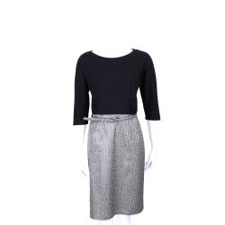 Max Mara-WEEKEND 黑銀色拼接設計五分袖洋裝(附腰帶)