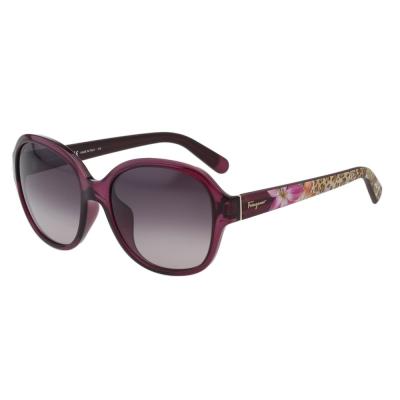 Salvatore Ferragamo 動物花卉 太陽眼鏡-透明紫色
