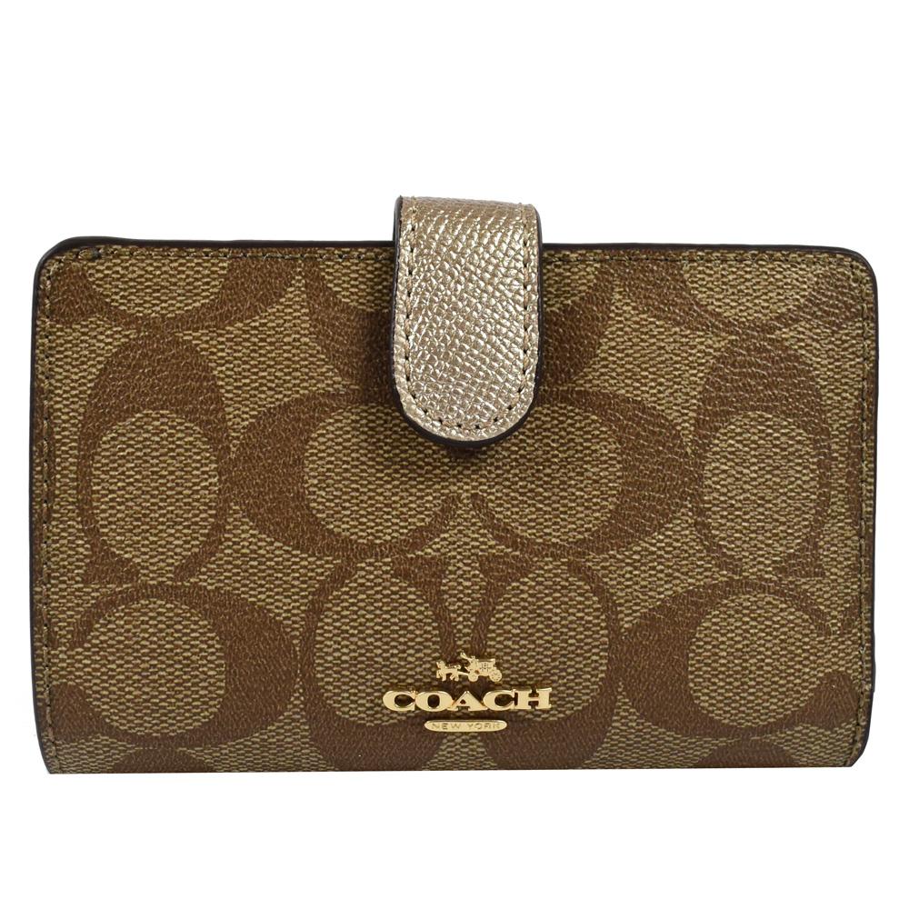 COACH 金屬LOGO PVC+牛皮扣式中夾(金/駝色)COACH