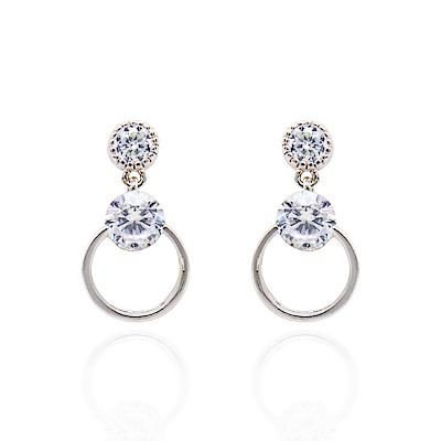 微醺禮物 耳環 925銀針 鍍白金 閃亮鋯石 圓圈 鏤空垂墜 耳針
