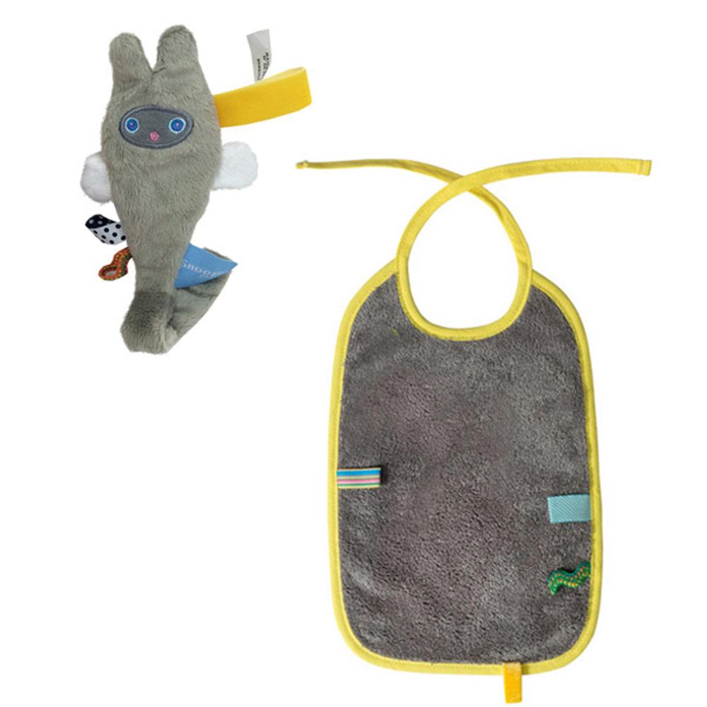 荷蘭Snoozebaby小飛兔布標奶嘴鍊夾(灰)+綁帶式布標圍兜(灰)