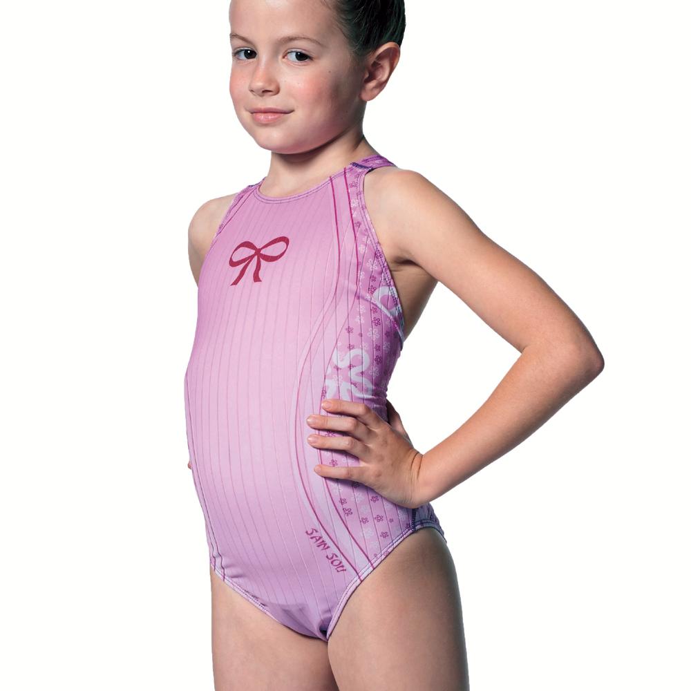 泳裝 連身式 粉紫蝶舞 專業女童泳裝 聖手牌