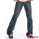 【BOBSON】男款鬼爪痕輕刷白低腰喇叭褲(深藍52)