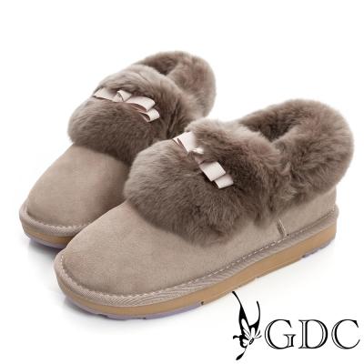GDC溫暖-蝴蝶結鋪毛真皮短筒雪靴-卡其色