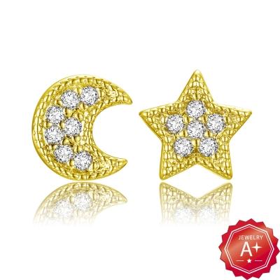 A+黃金 精緻滿鑽星月 黃金耳環