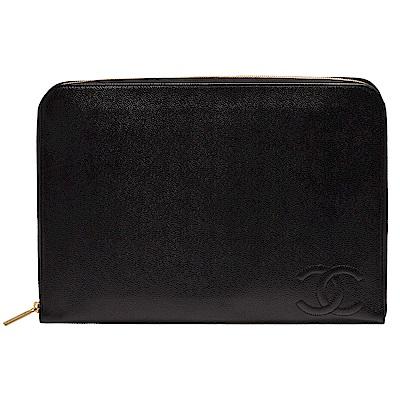 CHANEL 經典車紋雙C LOGO粒紋小牛皮多夾層拉鍊手拿包(黑色)