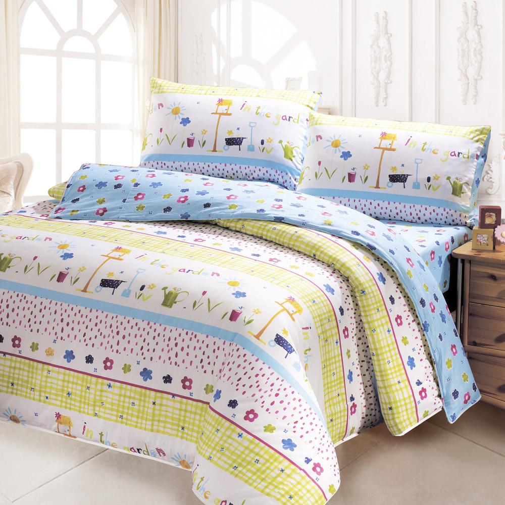 鴻宇 美國棉 防蹣抗菌 小小園丁 雙人床包枕套三件組