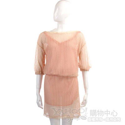 Kristina Ti 粉橘色網狀七分袖洋裝