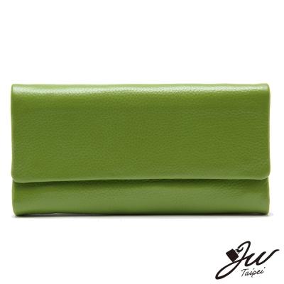 JW真皮皮夾素面精緻牛皮可拆式長夾-松石綠-快