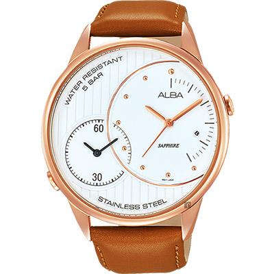 ALBA 街頭酷玩家二地時間腕錶(AZ9014X1)-白x咖啡/45mm