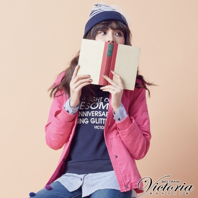 Victoria 假二件式拼接刷毛裡長袖T-女-深藍