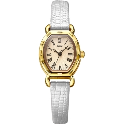 JULIUS聚利時 羅馬刻度復古酒桶形腕錶-古典金/20x24mm