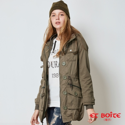 ETBOITE 箱子 BLUE WAY 兩件式附毛衣外套連帽軍裝外套-軍綠