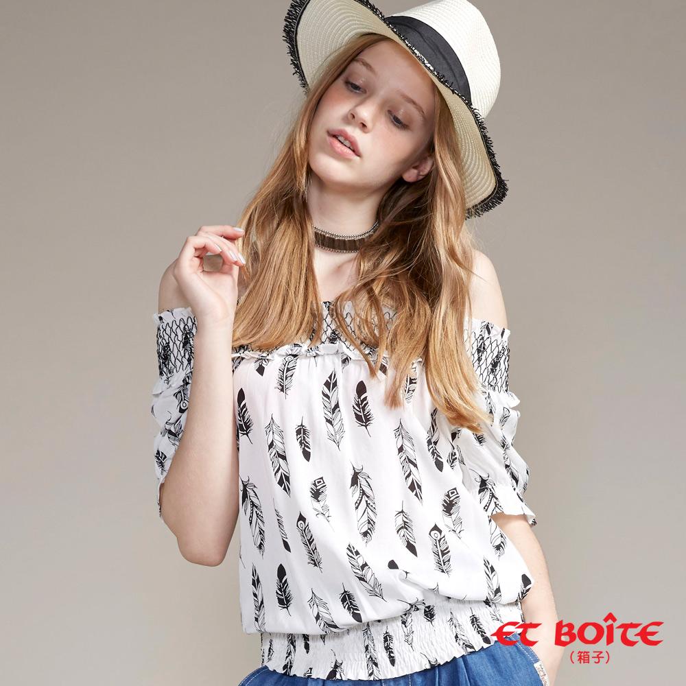 ETBOITE 箱子 BLUE WAY 羽毛一字領短袖襯衫(白)