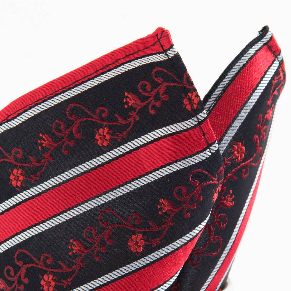 極品西服 100%絲質口袋方巾_亮紅小花紋