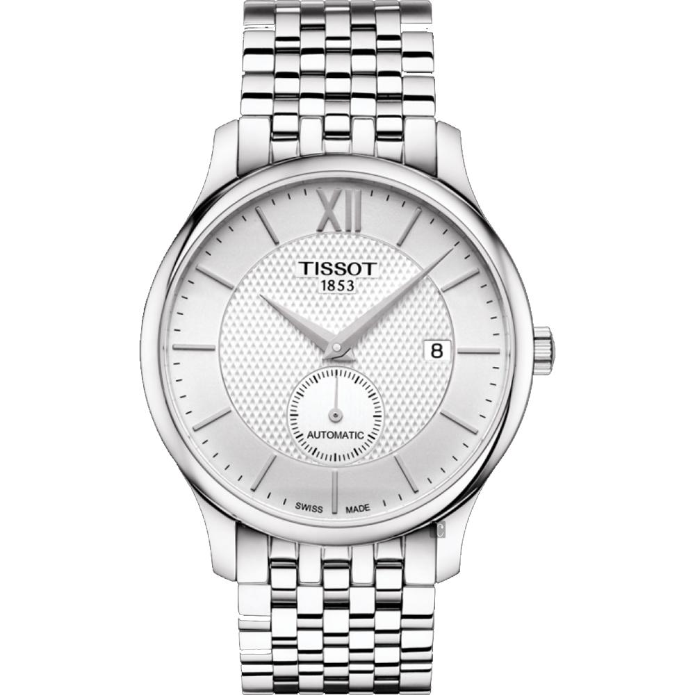 TISSOT天梭 Tradition 小秒針機械錶-銀/40mm