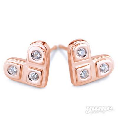 【YUME】三星二意小耳環─玫瑰金色