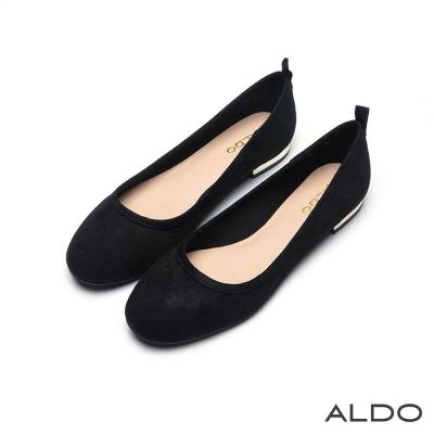 ALDO 法式輕甜圓頭粗跟鏡面娃娃鞋~尊爵黑色