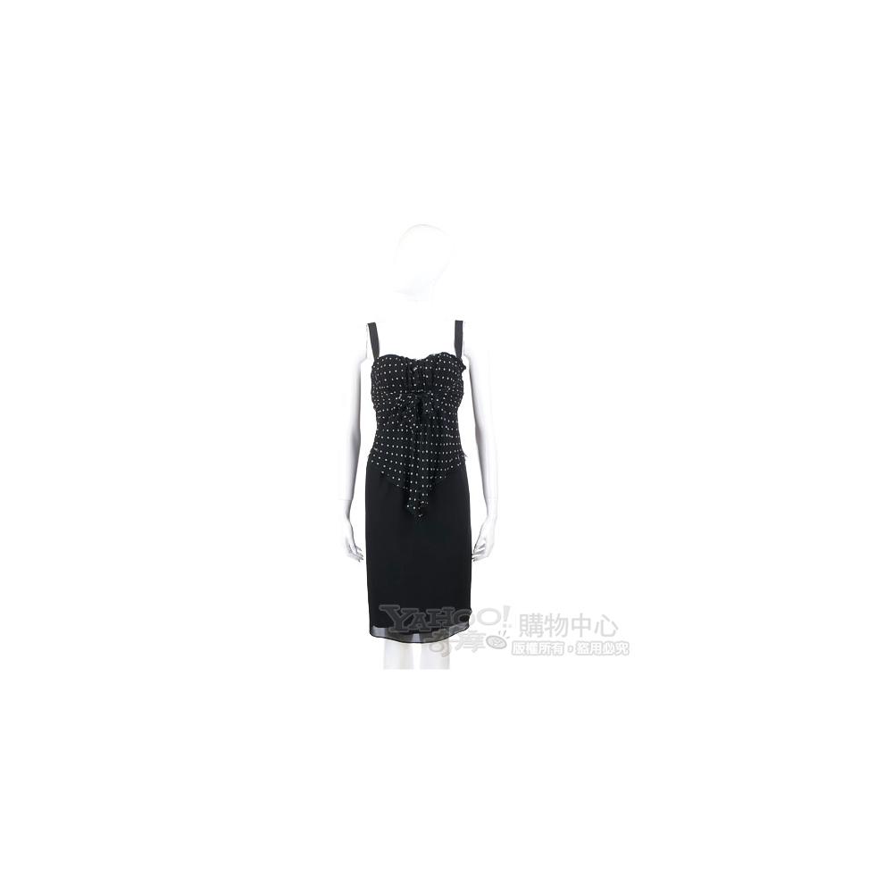 VALENTINO 黑色點點拼接細肩帶洋裝