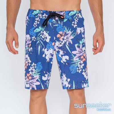 澳洲Sunseeker泳裝男士快乾衝浪泳褲-網點印花深藍
