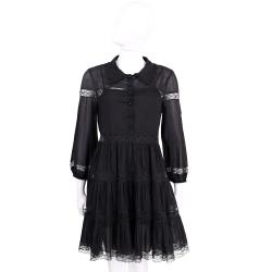 PHILOSOPHY 黑色棉料蕾絲襯衫式長袖洋裝