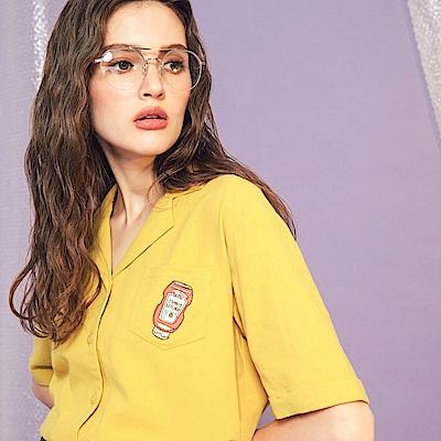 CACO-口袋刺繡短襯衫-女【PSH224】