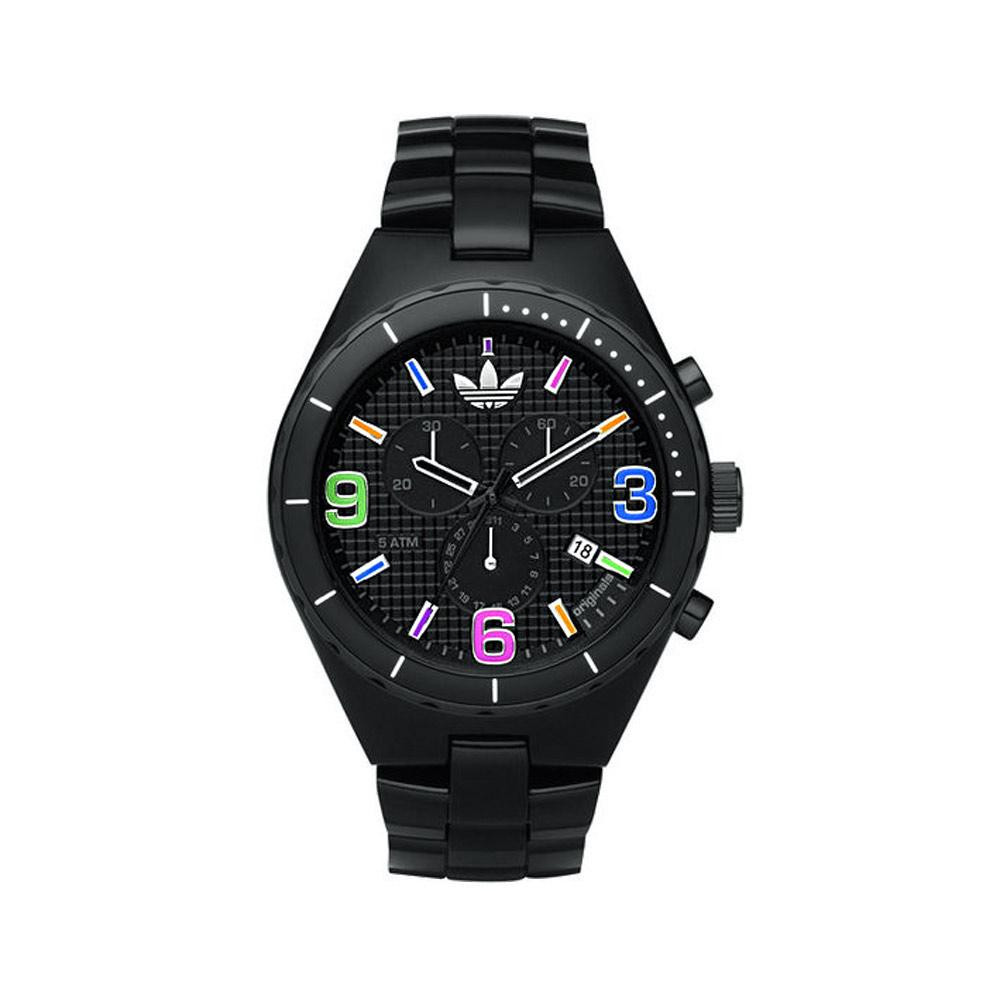 adidas炫彩格紋三眼玻麗運動錶-黑43mm