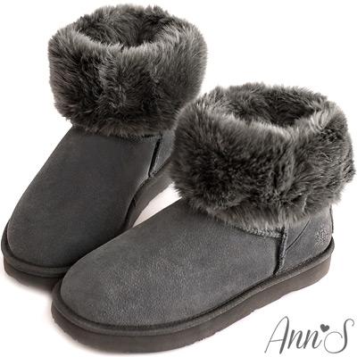 Ann'S可愛百搭-刺繡小雪花可反折素面真皮雪靴 灰