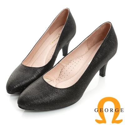 GEORGE-經典素面閃亮面料真皮中跟鞋-黑色