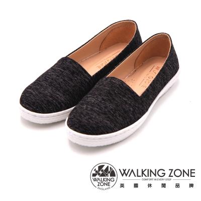 WALKING ZONE 日系感休閒平底 女鞋-黑(另有粉藍、粉紅)