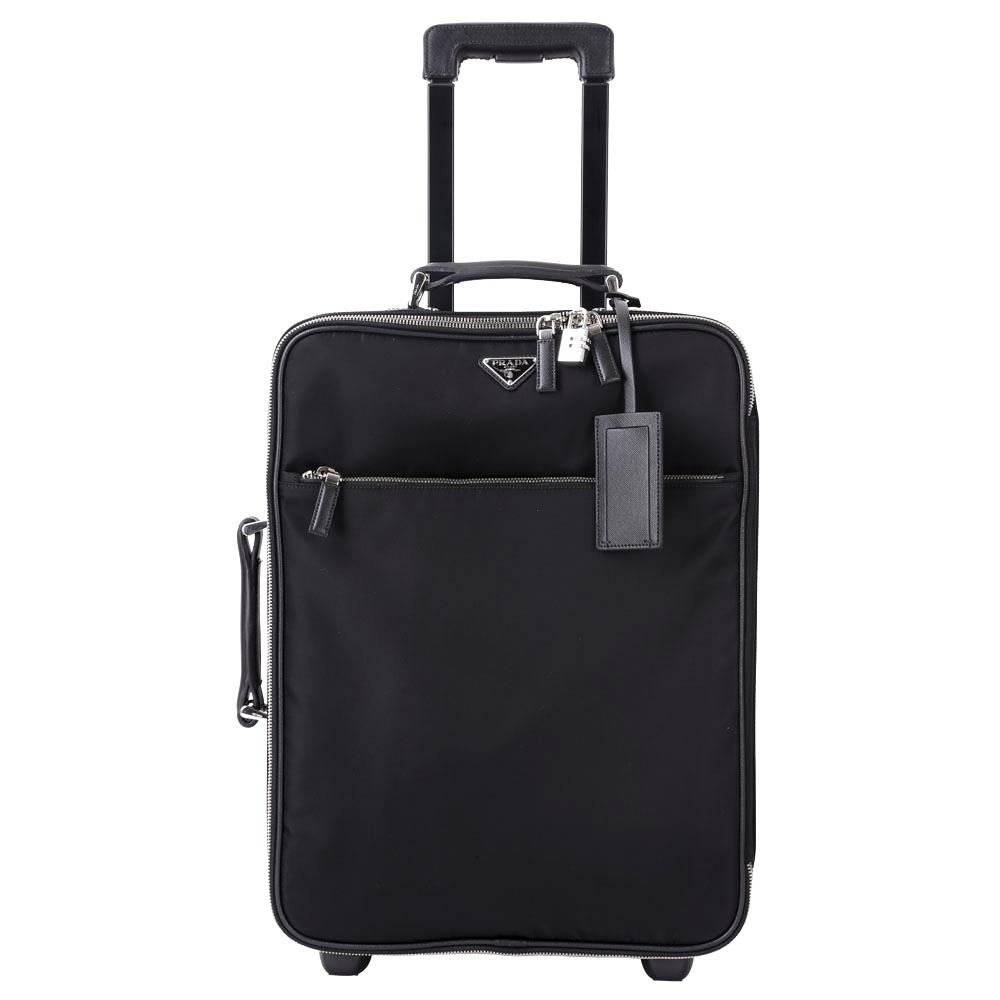 PRADA 三角LOGO尼龍拼接設計行李箱(22吋/黑色)PRADA