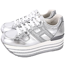 HOGAN Maxi H222 銀色厚底繫帶休閒鞋