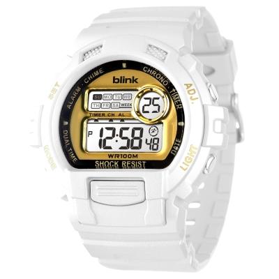 JAGA 捷卡 blink 陽光炫麗多功能運動電子錶-白金/53mm