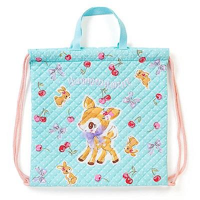 Sanrio 哈妮鹿日本製童用棉布縮口後背提袋(櫻桃點點)