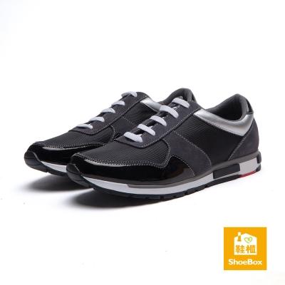 鞋櫃ShoeBox-男鞋-休閒鞋-異材質拼接綁帶運動鞋-黑