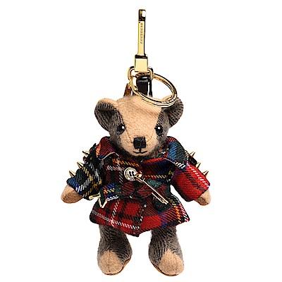 BURBERRY 經典Thomas蘇格蘭格紋羊毛風衣造型泰迪熊鑰匙圈/吊飾(繽紛鮮紅色)